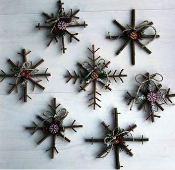 Dřevěné vločky, vánoční výzdoba návod, rustikální dekorace