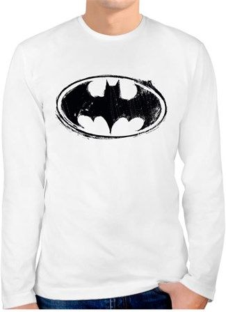 Batman Logo - Eskitme - Kendin Tasarla - Erkek Bisiklet Yaka Tişört Uzun Kollu