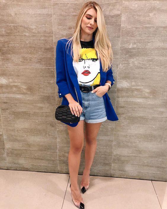 12 maneiras de usar blazer colorido - Guita Moda | Looks com camisetas, Looks, Looks casuais