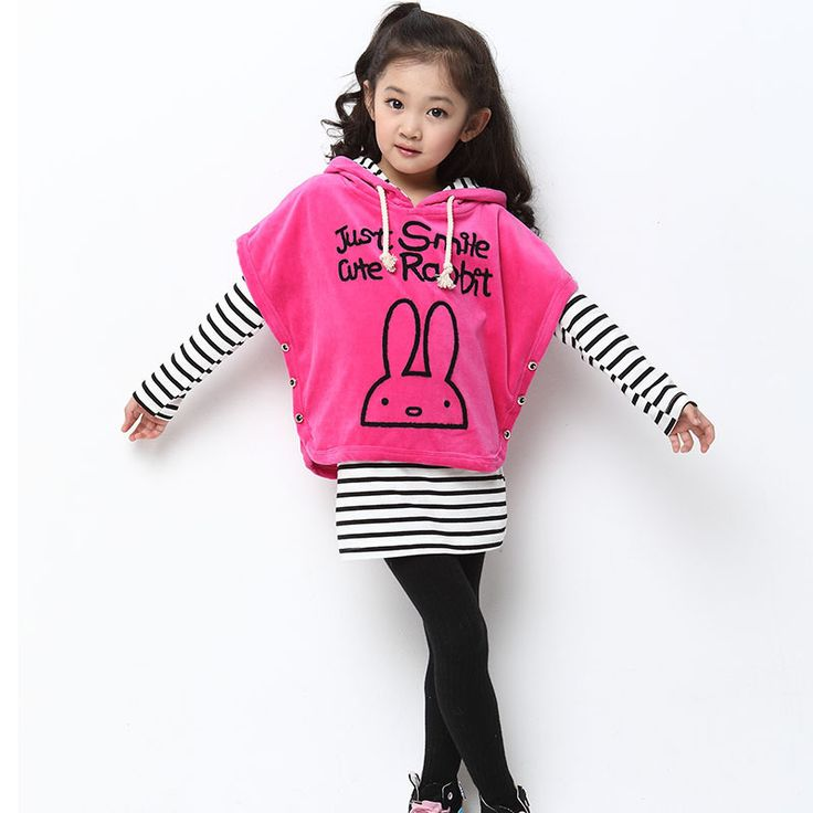 >> Click to Buy << Korean small rabbit children's clothing girls clothing sets 2016 new girls velvet stripes stitching fake three-piece #Affiliate
