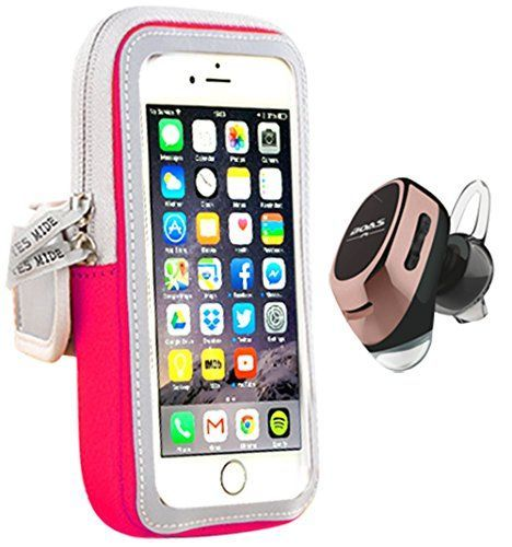 Sports Armband & Earbuds For Running Combo. Neoprene Armband Fits Iphone 6 7 Samsung s5 s6 plus Wireless Bluetooth Earbud v4.1   EDR (Small Pink Armband with Rose Gold Earbud) * More info could be found at the image url.