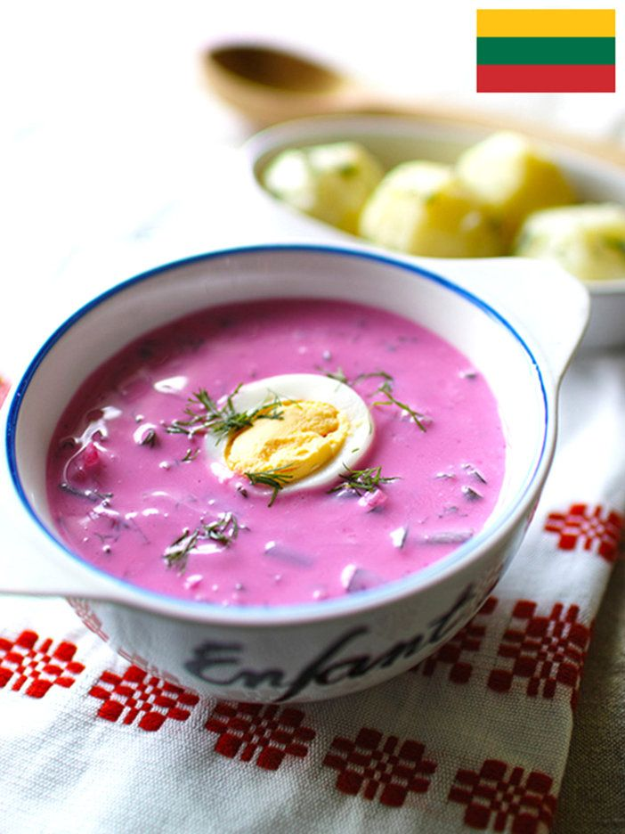 見た目も鮮やかなビーツ色のスープ。リトアニアの夏の料理。サラダ感覚の健康的なひと皿|『ELLE gourmet(エル・グルメ)』はおしゃれで簡単なレシピが満載!