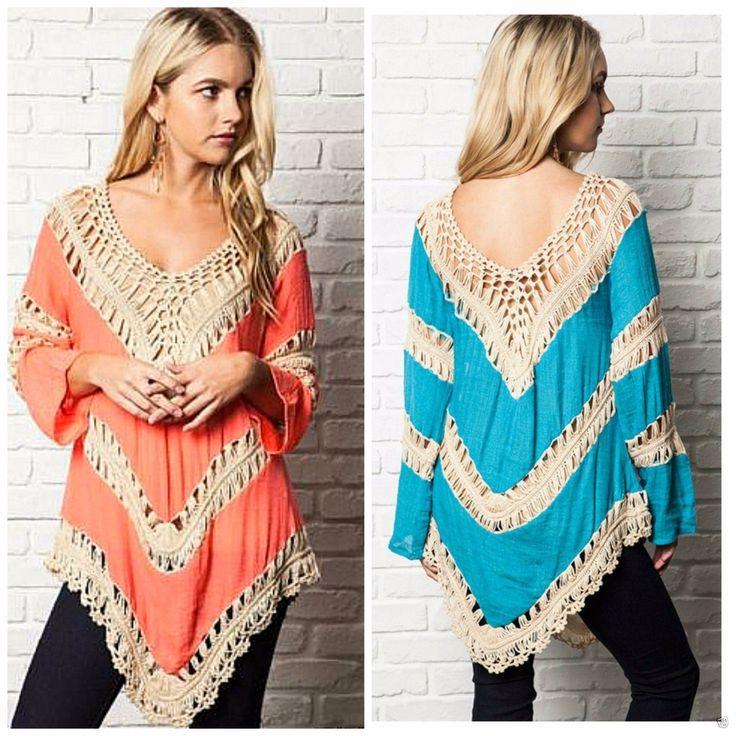 Umgee USA Crochet Mix Bohemian Hippie Long Tunic Top s M L Teal Coral Neon Mango | eBay
