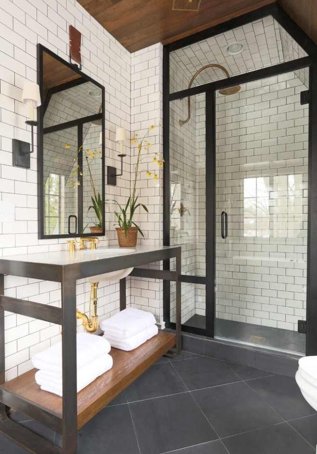 White tile, glass with rod iron trim