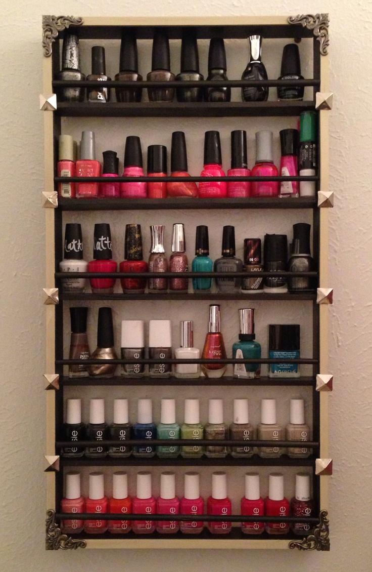 diy nail polish shelf super easy and cheap i used scrap. Black Bedroom Furniture Sets. Home Design Ideas