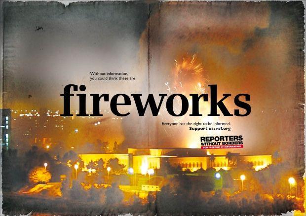 """""""fireworks"""" Reporter ohne Grenzen, McCann Erickson"""