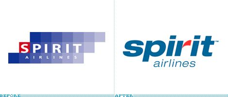 Spirit Airlines Logo, Before and After
