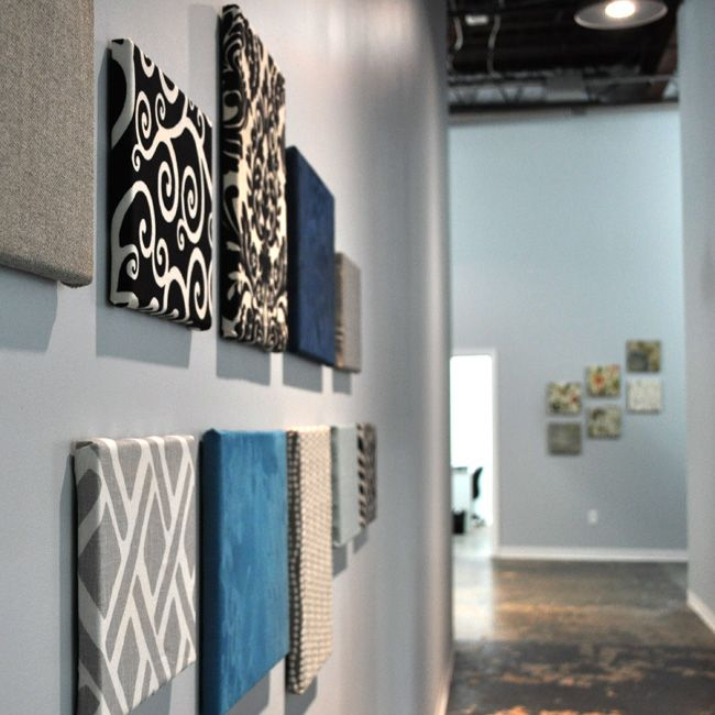 Simple, stylish wall art made from fabric scraps and blank canvases of various sizes.