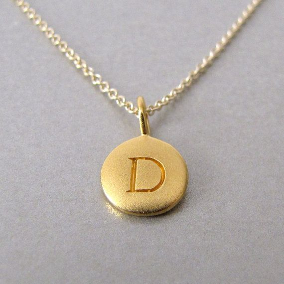 Personalized Gold Initial Charm Necklace by tangerinejewelryshop, $42.00