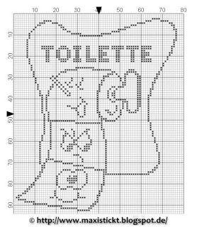 Toilette - wc - point de croix-cross stitch - Blog : http://broderiemimie44.canalblog.com/