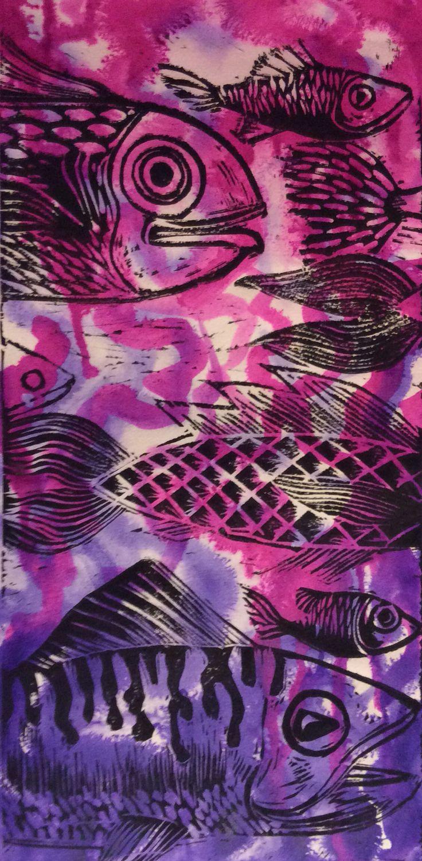 Lino Print on inky background