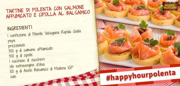 Delicate e gustose, queste tartine di #polenta hanno un tocco di sapore grazie all'aceto #balsamico. Da segnare per il prossimo aperitivo con amici
