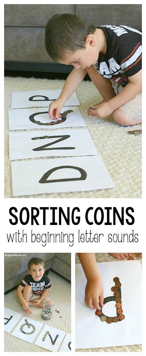 Money Math for Kids: Sorting coins (quarters, dimes, nickels, and pennies) by beginning letter sound. Great combination of literacy and mathematics for preschool and kindergarten! ~ BuggyandBuddy.com