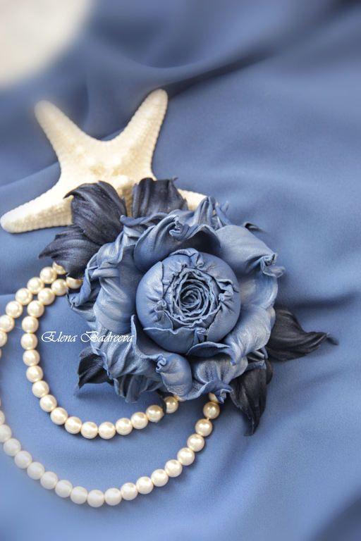 """Брошь из кожи """"На пороге ночи 2"""" - синий,синяя роза,перламутровый,роза"""