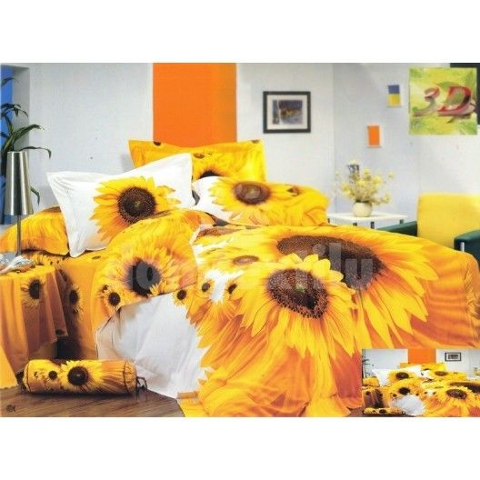 Bielo žlté posteľné obliečky s motívom slnečníc