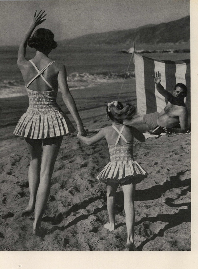 Freaking Awesome mother & daughter vintage bathing suits - Mademoiselle Editorial Station Wagon Living, March 1959