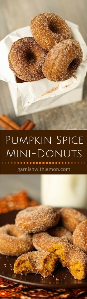 Who can resist mini-donuts? These Baked Pumpkin Spice Mini-Donuts are filled with all the flavors of fall like cinnamon, nutmeg and cloves. ~ http://www.garnishwithlemon.com