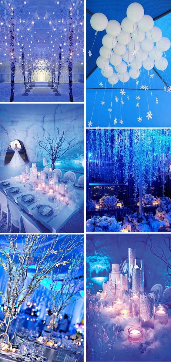ice blue winter wonderland inspired wedding ideas:                                                                                                                                                                                 More
