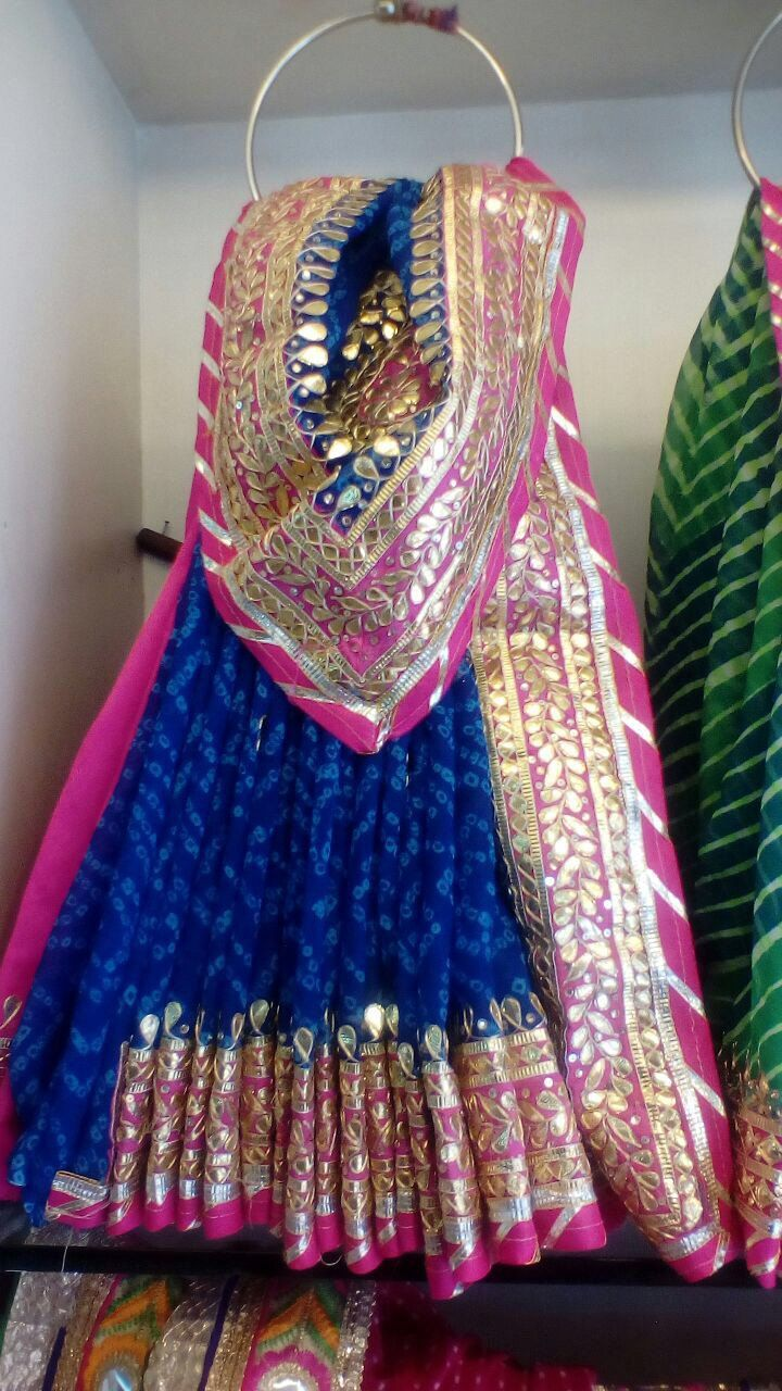 Blue Georgette Saree with Gota Patti work by Threadsandblocks