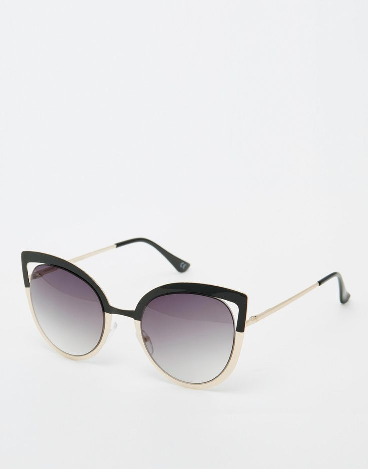 ASOS Metal Cat Eye Sunglasses With Color Block Frame And Cut Away Lens