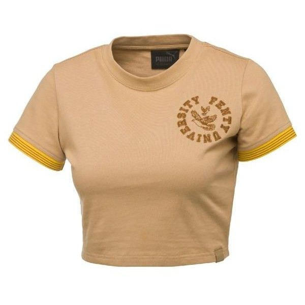 T-Shirt FENTY Cropped au style Vintage pour femme ($100) ❤ liked on Polyvore featuring tops, t-shirts, beige crop top, vintage t shirts, beige t shirt, crop tee and crop tops