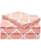 Trellis 100% Cotton, 300 Thread Count 4 Piece Queen Bed Sheet Set, Coral