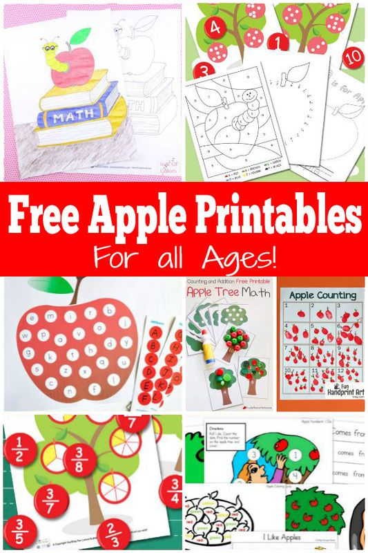 A ton of Free apple themed printables