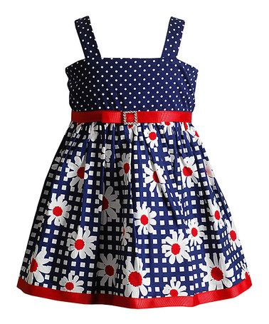 Look what I found on #zulily! Navy & Red Daisy Dot Dress - Toddler by Youngland #zulilyfinds