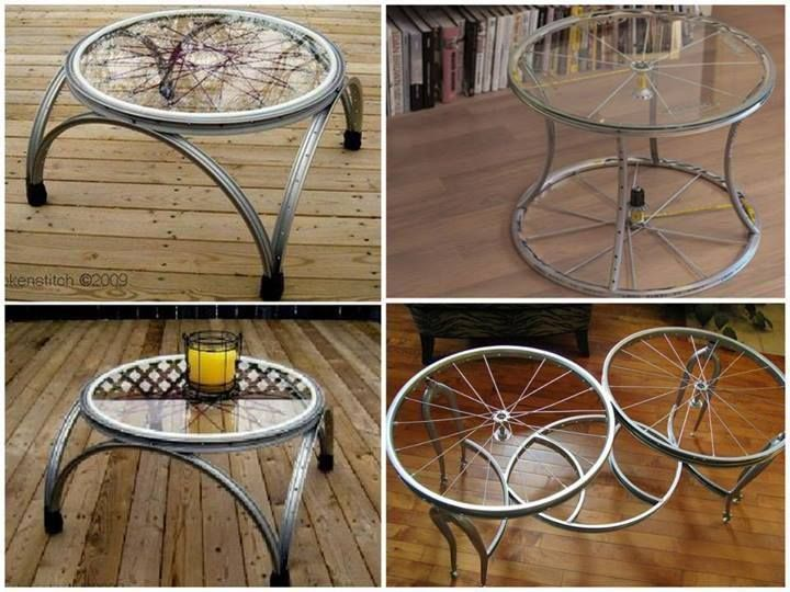 Original mesa hecha con llantas (aro metálico) de bicicleta.