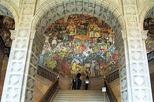 Diego Rivera's mural of Mexico's history in Mexico City.