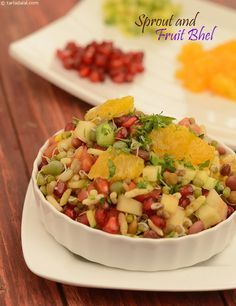 Sprout and Fruit Bhel ( Fast Food Made Healthy) recipe | Quick Indian Healthy Recipes | by Tarla Dalal | Tarladalal.com | #4069