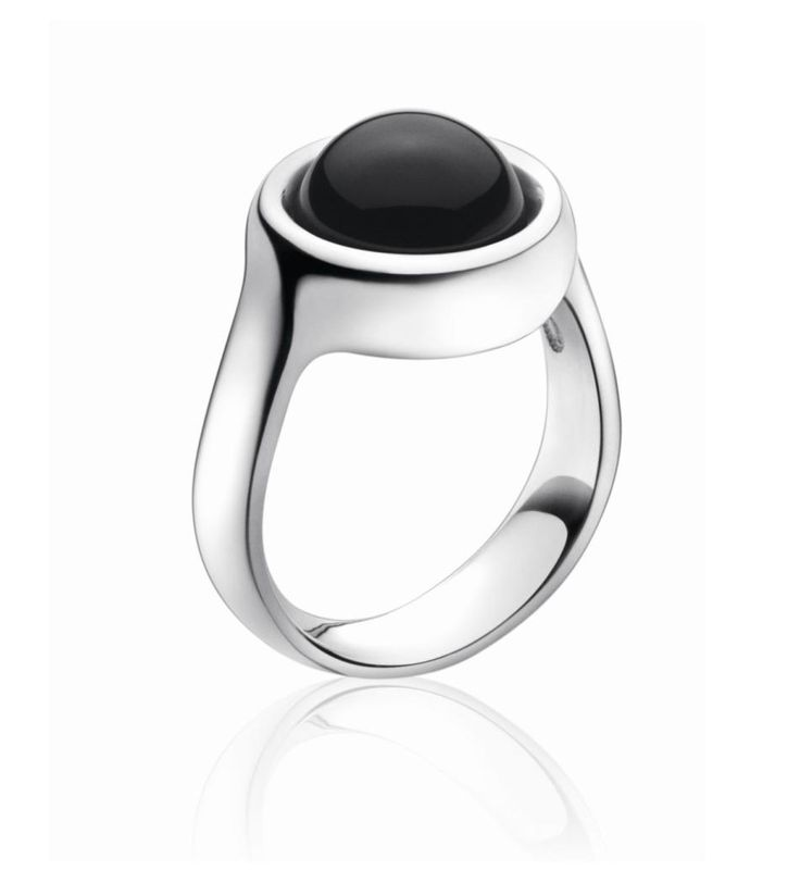 Sphere Sterling Silver Ring With Black Agate by Georg Jensen