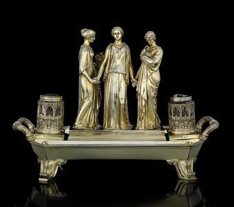 George IV Silver Gilt Inkstand | Phillip Rundell, London, 1822 | Steppes Hill Farm Antiques | http://www.steppeshillfarmantiques.com/blog/english-inkstands-2381