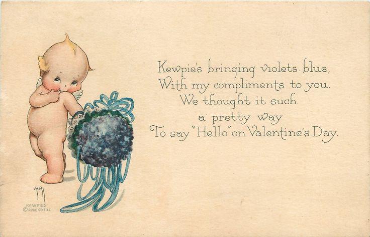 Rose O'Neill Kewpie with Violet Flower Nosegay Bouquet Valentine Gibson Art Line | eBay