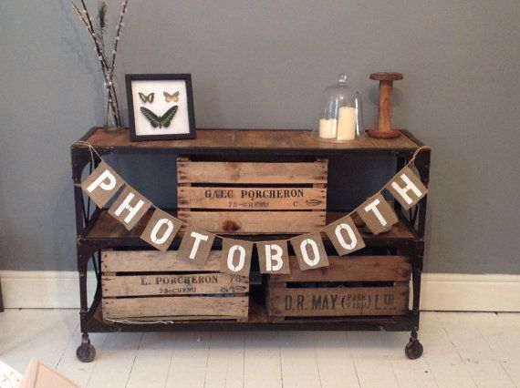 Hessian Burlap Photo Booth wedding banner bunting on Etsy, $18.74 CAD