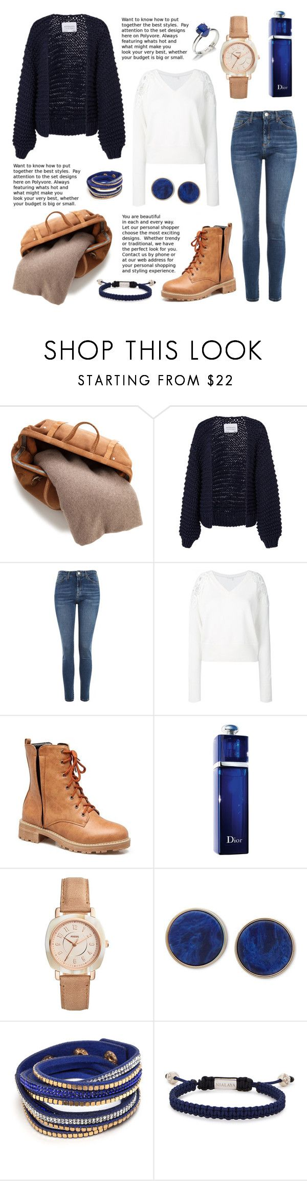 """night blue"" by zaazbymary ❤ liked on Polyvore featuring White + Warren, I Love Mr. Mittens, Topshop, Chloé, Christian Dior, FOSSIL, DKNY, Nialaya and Lazuli"