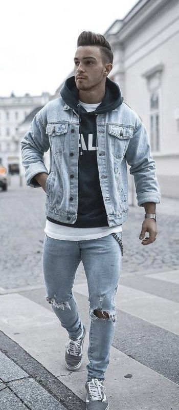 d0d99c8f10 Fall outfit inspiration with a gray denim jacket black hoody jacket white t-shirt  light wash ripped denim watch gray vans old skool. model unknown ...