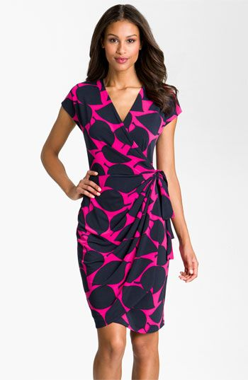 Maggy London Leaf Print Jersey Wrap Dress available at Nordstrom