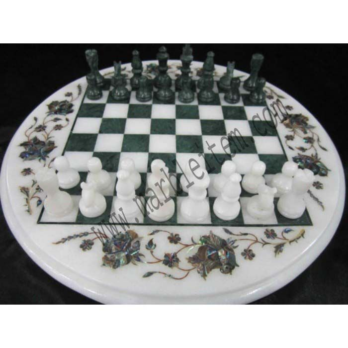 Marble Chess board Round with floral design #chessboard #chess #games #artwork #art #inlay #inlaywork #interiordecor #forsale