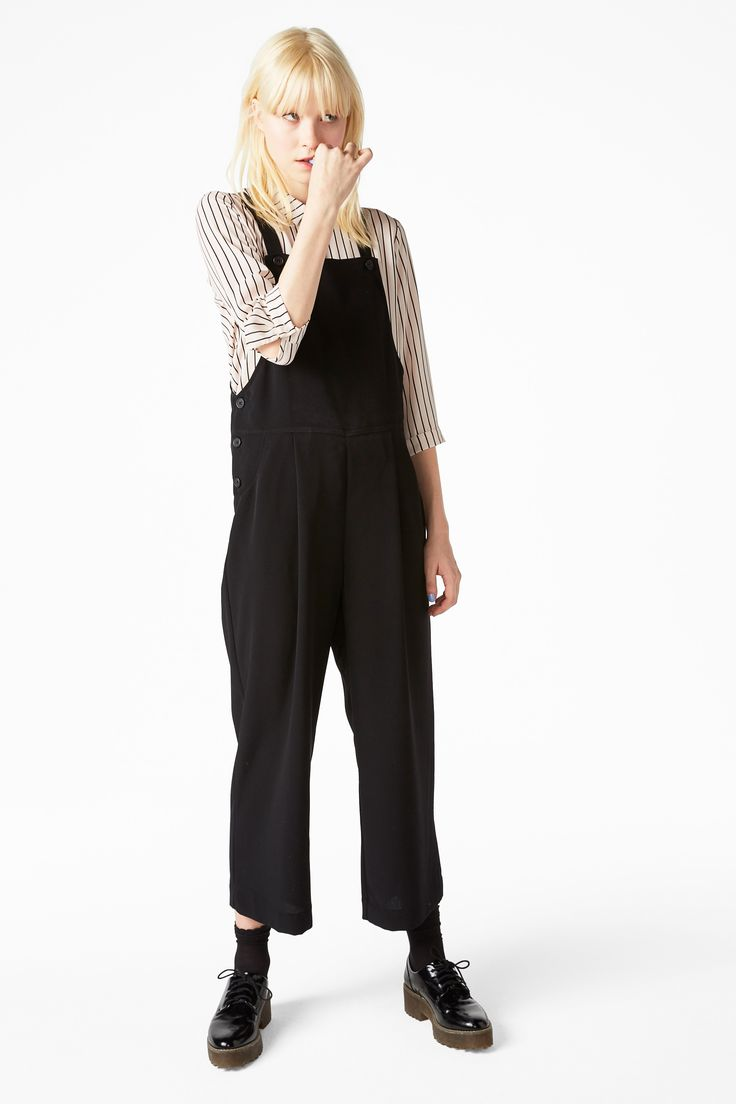 A nifty pair of wide legged dungarees to throw on over any base layer.