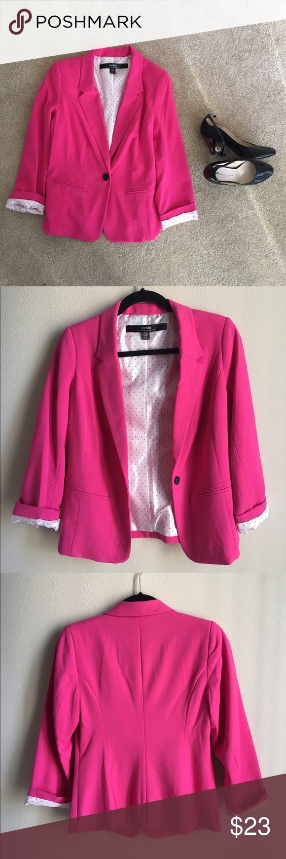 Hot pink blazer Very special blazer with hot pink color. Interior with cute dots. I loved wearing it, especially with the sleeve rolled up. It's pretty light and good for spring/summer weather. It was hard to find the perfect match at the beginning. But after you do, it will earn you a lot of compliments. Only worn twice. Excellent condition! Kensie Jackets & Coats Blazers