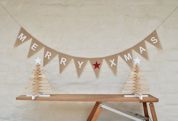 MERRY XMAS BANNER Hessian Burlap Bunting Christmas Decoration Party decor rustic country cottage