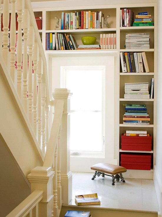 great use of space: Bookshelves, The Doors, Storage Spaces, Storage Solutions, Built In, Stairs Land, Window, Book Storage, Storage Ideas