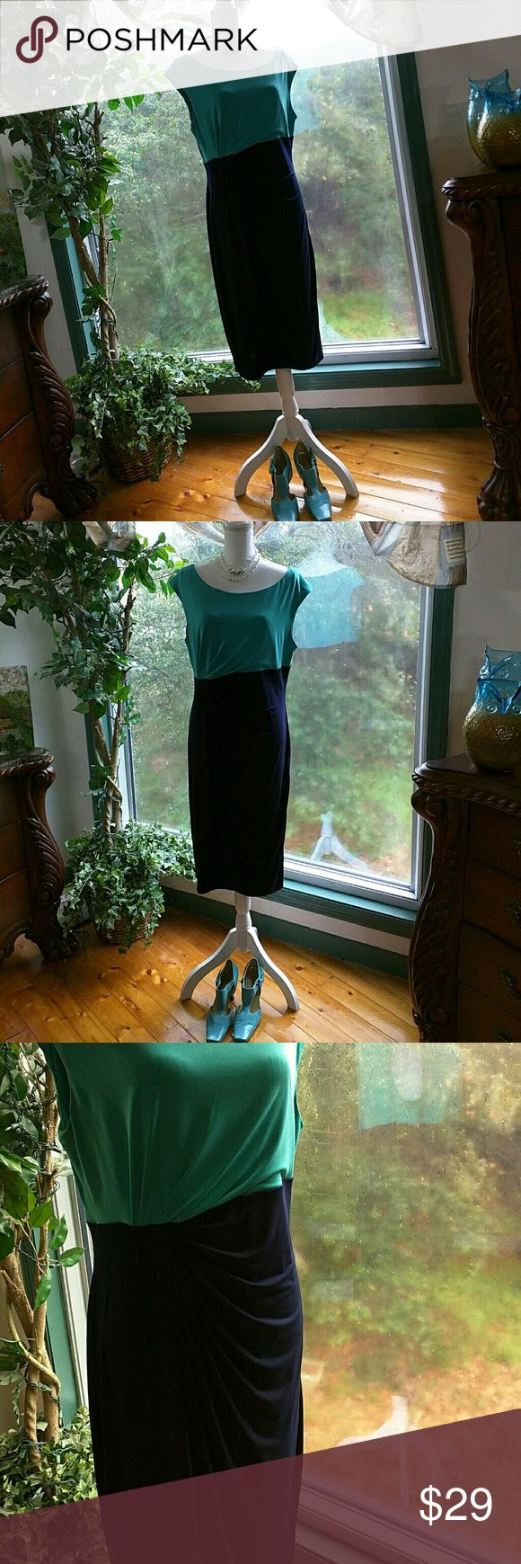 """Connected Apparel Faux Wrap Dress Turquoise and Navy Bust across front 19"""" Length of whole dress 40"""" Connected Apparel Dresses Midi"""
