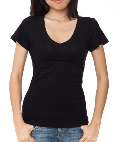 Ladies black plain t shirt round v neck cap sleeves for Cotton and elastane t shirts