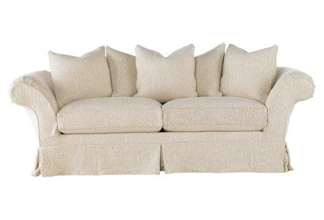 "Grace 97"" Slipcovered Sofa, Linen 