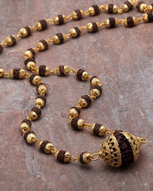 15512d238e312 Gold Plated Rudraksha Studded Chain in 2019 | rudraksha | Jewelry ...