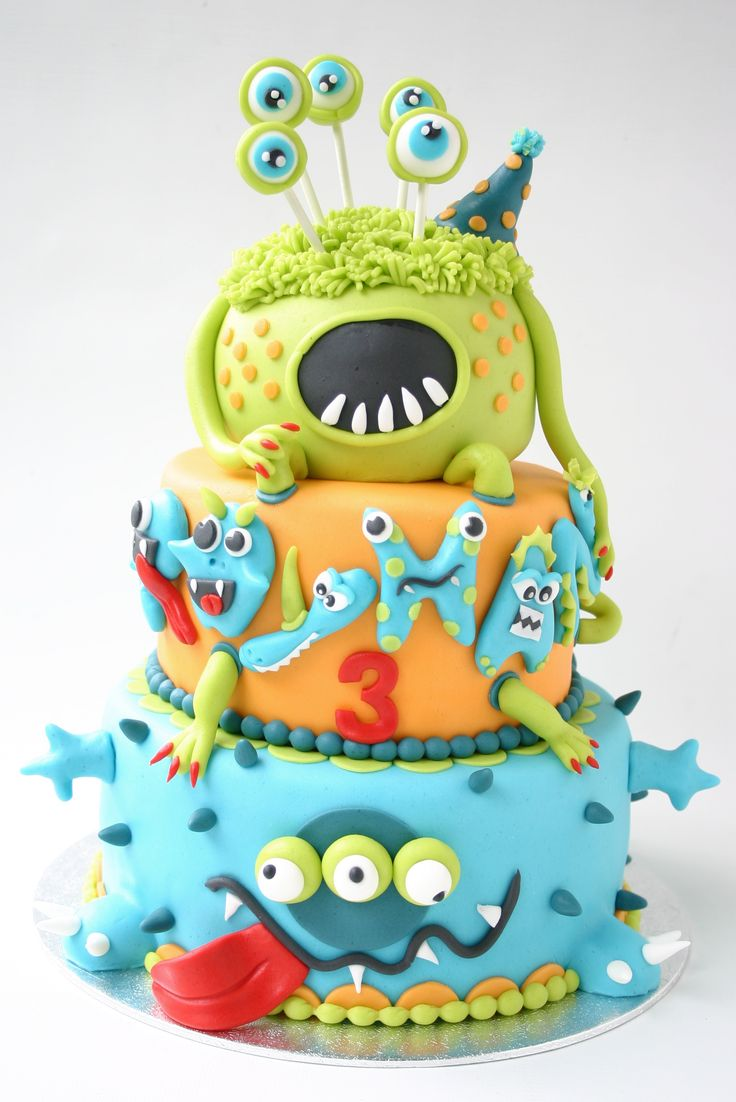 cute monster cake - A monster for a 3 year old must be not so scary, but colourful and funny!