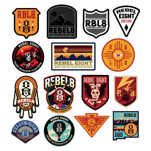 Various graphics created for Rebel8 from 2013 to present