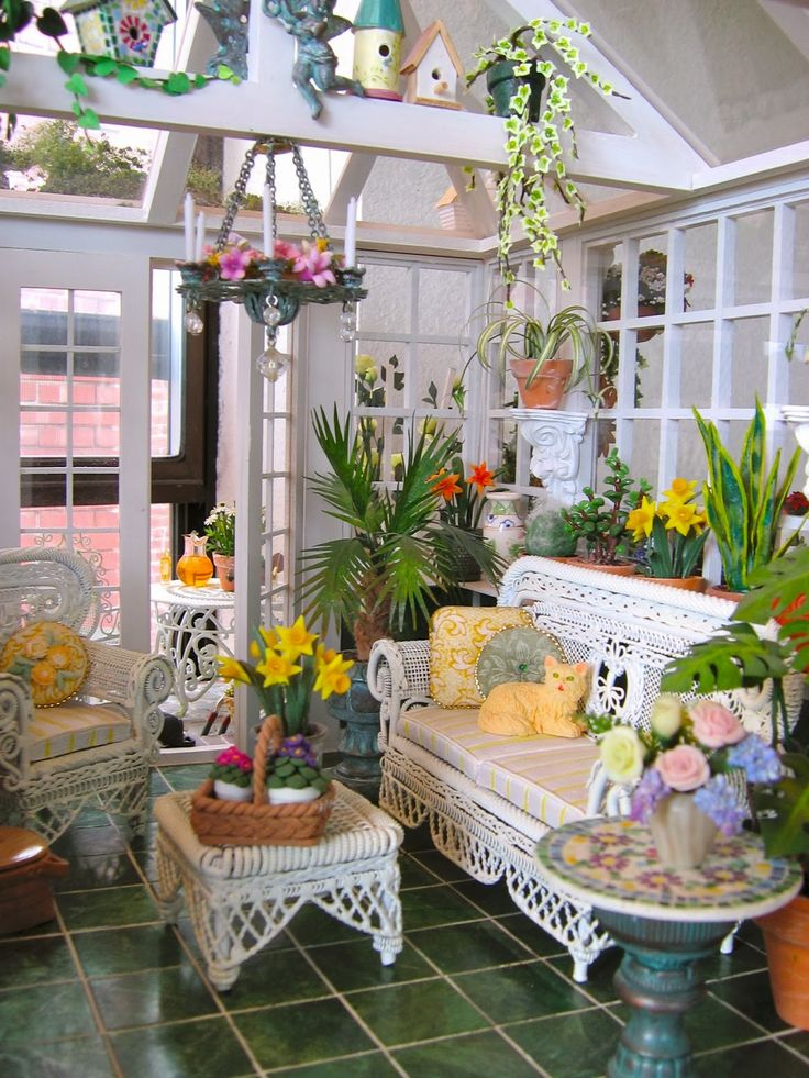 #dollhouse conservatory and garden ~ be still my heart!